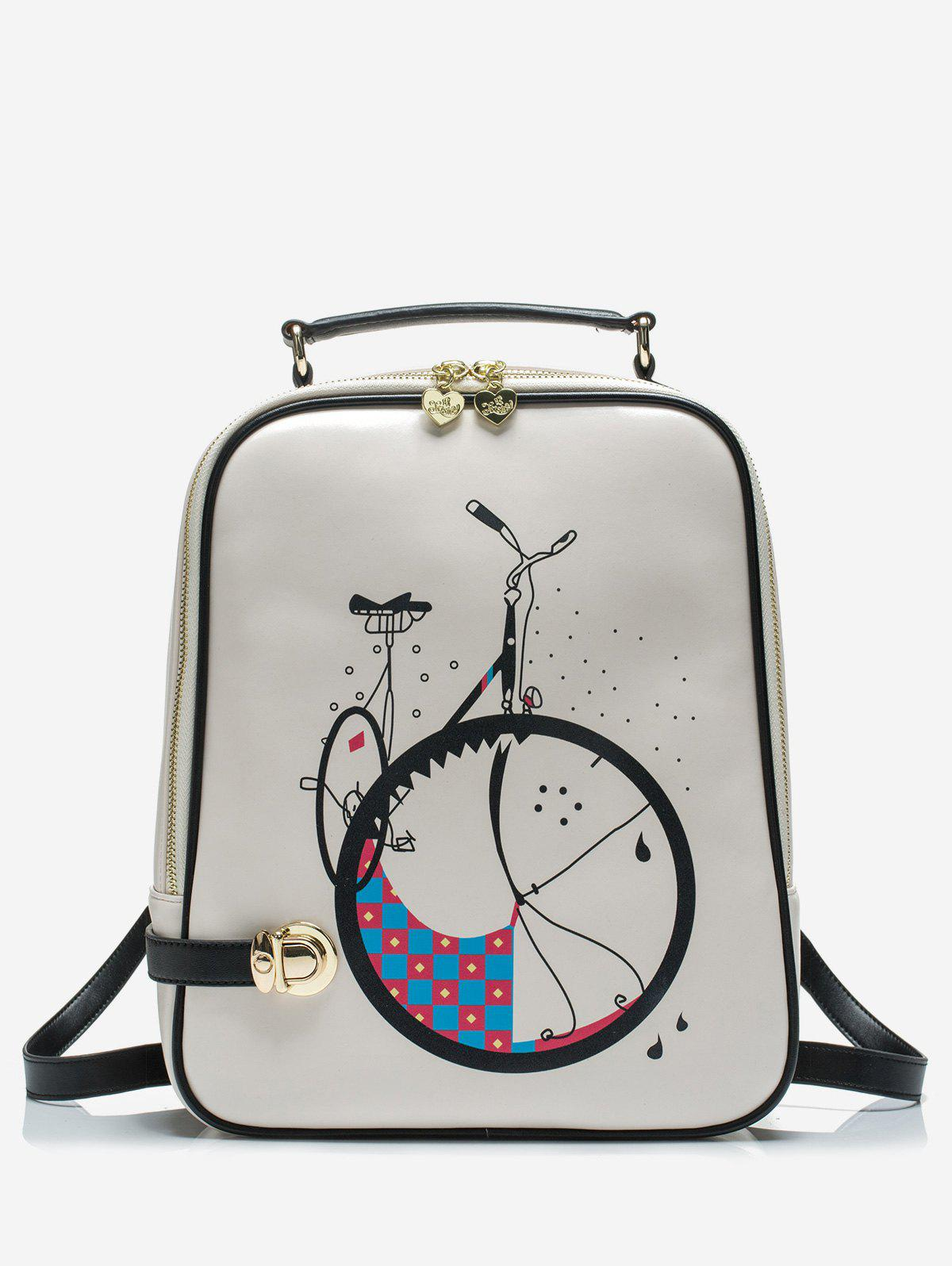 Latest Bike Print Top Handle School Backpack