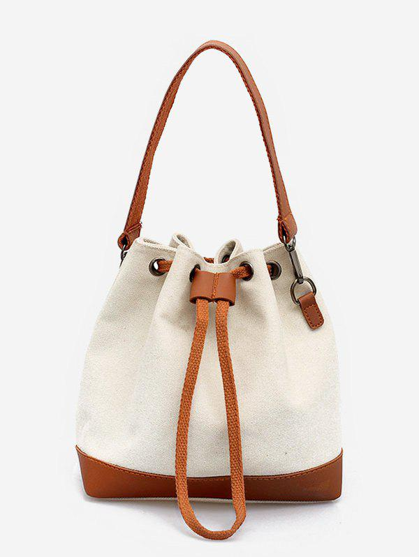 Cheap Bucket Color Block Canvas Tote Bag