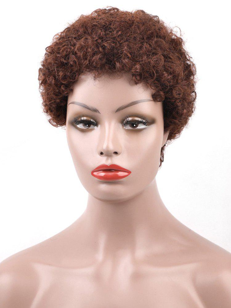 Fashion Real Human Hair Short Afro Curly Pixie Wig