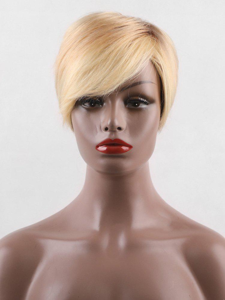 Trendy Short Side Bang Capless Colormix Straight Human Hair Wig