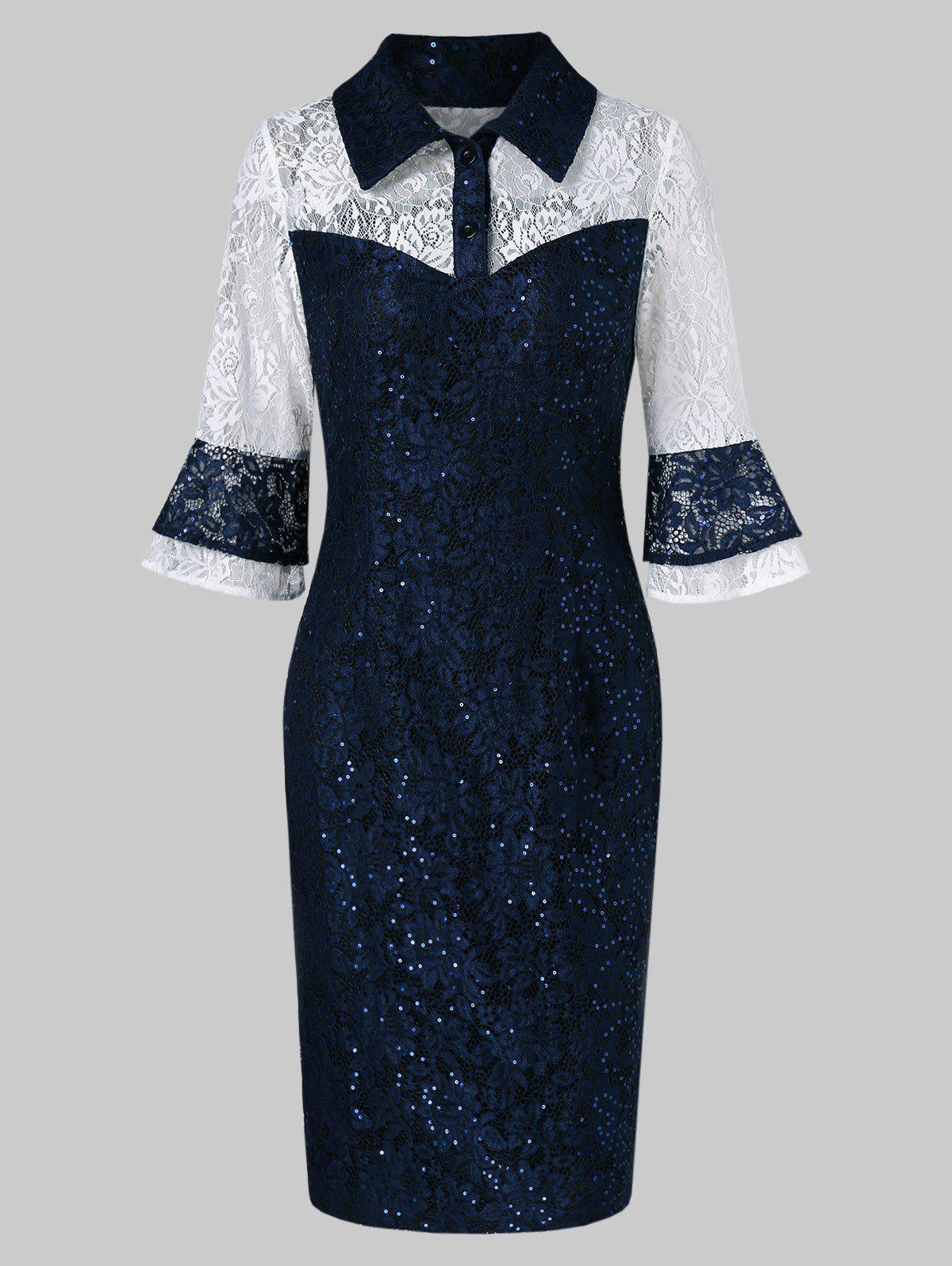 Affordable Half-button Sequined Lace Bodycon Dress