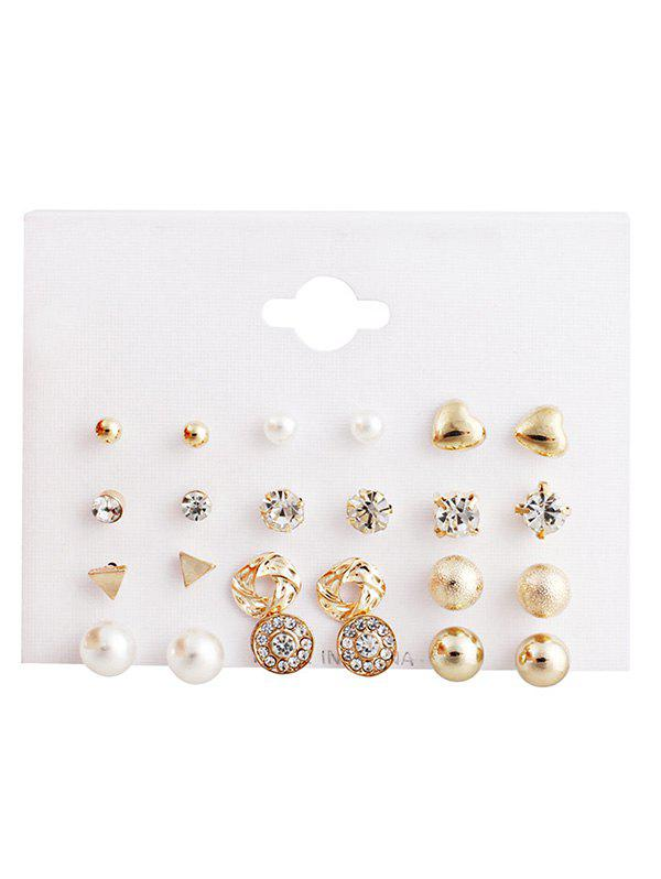 Shops Artificial Pearl Design Rhinestone Earrings Set