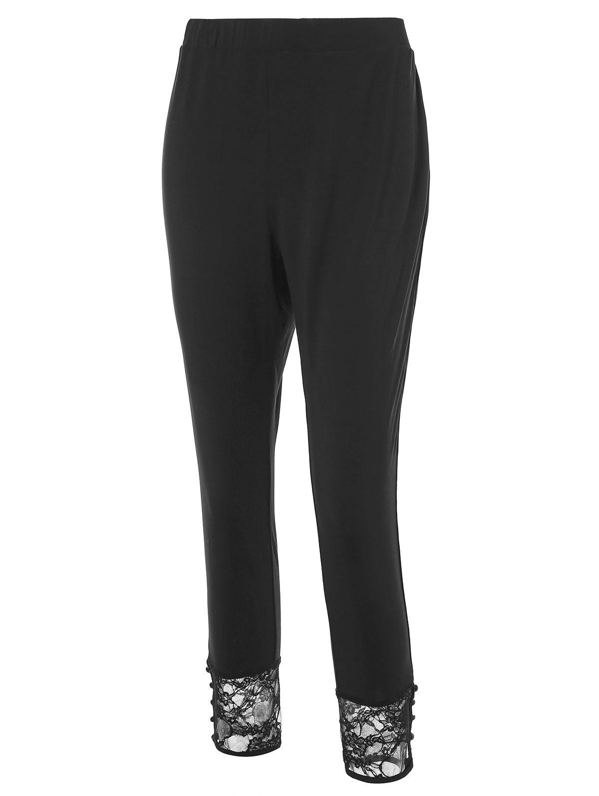 Discount Plus Size High Waisted Leggings with Lace