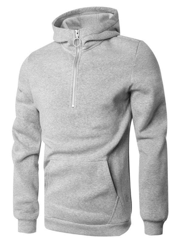 Sweat à Capuche Pull-over à Demi-Zip avec Poche Kangourou