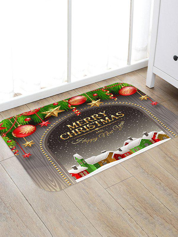 Store Merry Christmas Town Pattern Anti-skid Water Absorption Area Rug