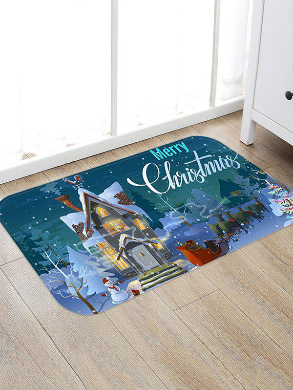 Unique Christmas Santa Castle Pattern Anti-skid Water Absorption Area Rug