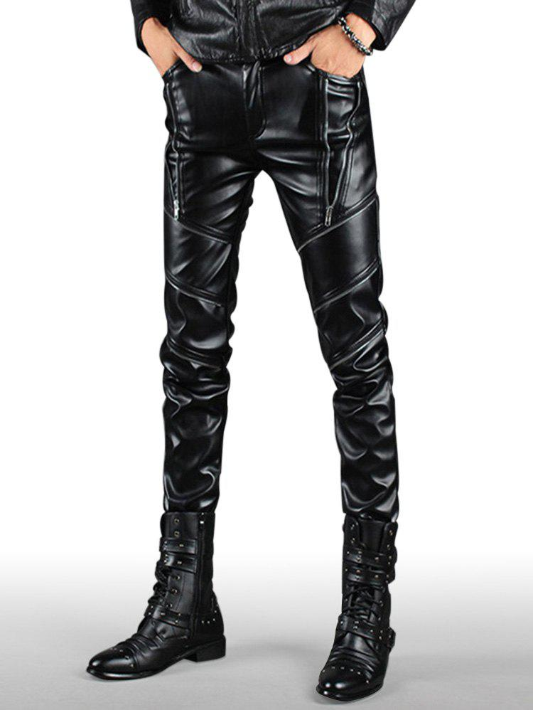 New Multi Zip Embellished Slim Fit PU Leather Pants