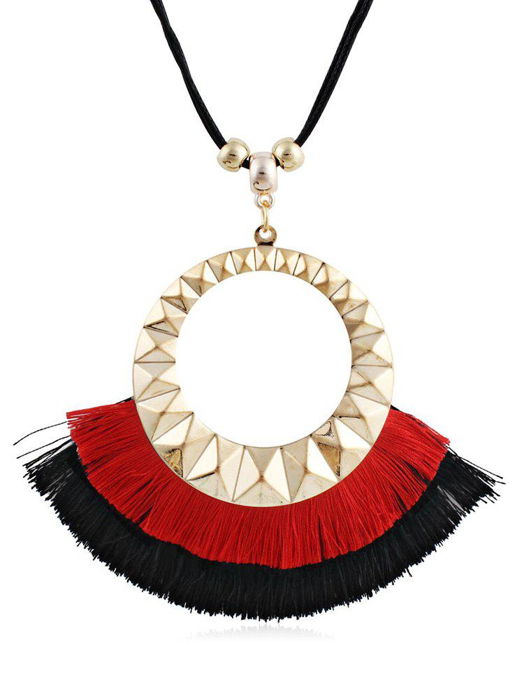 Fashion Round Design Tassel Decorative Sweater Necklace