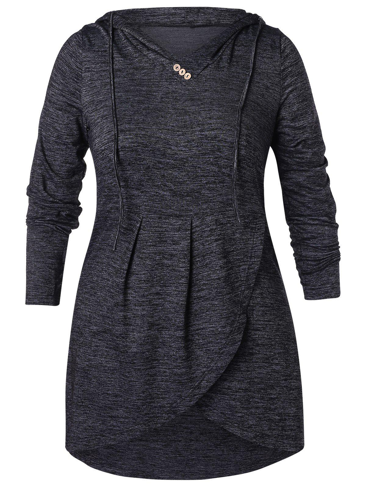 Plus Size Buttoned High Low Hoodie, Dark slate grey
