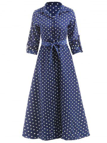 Polka Dot Print Maxi Shirt Dress