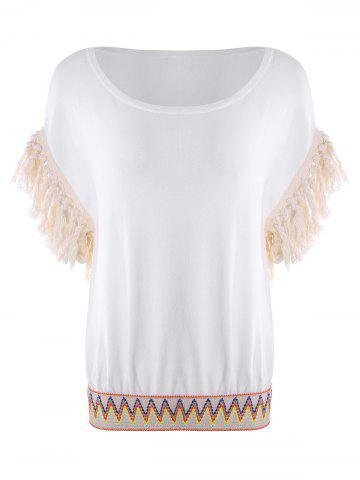 Fringed Embroidered Knitwear - WHITE - S
