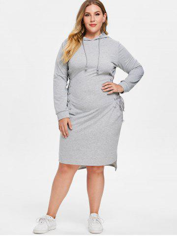 Plus Size Lace Up Hoodie Dress