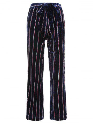 Striped Wide Leg Velvet Pants