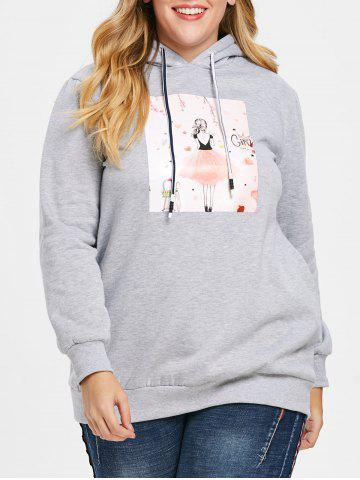 Sweat à Capuche Pull-over Long Graphique de Grande Taille