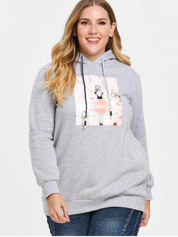 Plus Size Graphic Longline Pullover Hoodie