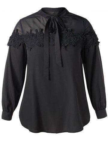 Plus Size Bow Tie Neck Lace Flower Chiffon Blouse