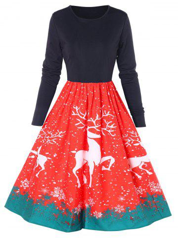 Christmas Reindeer Print Flared Dress
