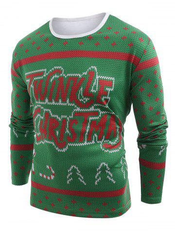 Knitted Sweater Print Christmas Long Sleeve T-shirt