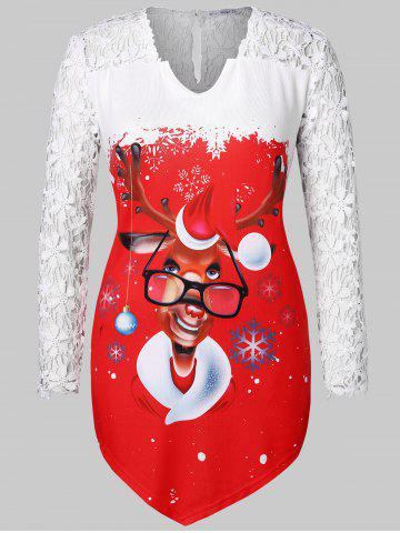 f35429d7915 Christmas Plus Size Printed Asymmetrical Tee