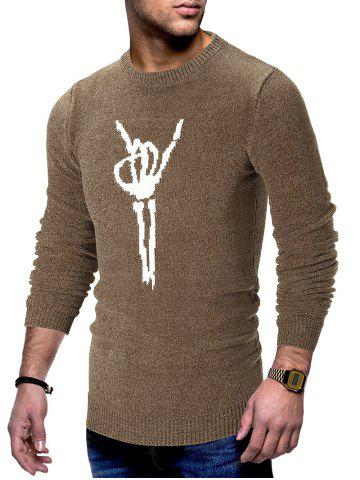 Hand Bone Print Pullover Sweater