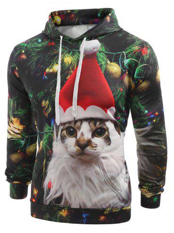 Cat with Christmas Hat Baubles Printed Casual Hoodie