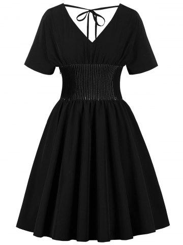 Vintage Double V Neck Tied Pin Up Dress