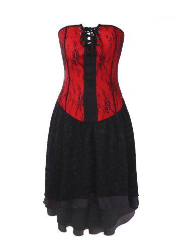 Gothic Bandeau Strapless Lace Corset Dress