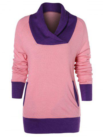 Color Trim Long Sleeve T-shirt with Pocket