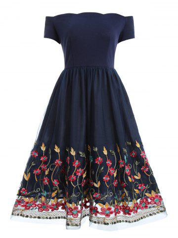 Off Shoulder Floral Mesh Panel Dress