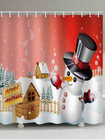 Merry Christmas Snowman Pattern Waterproof Shower Curtain - RED - W71 X L79 INCH