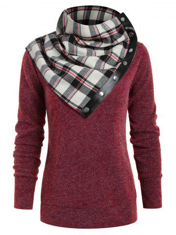 Round Neck Sweatshirt with Tartan Neck Gaiter