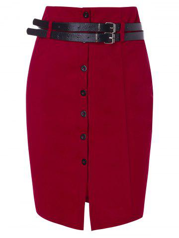 Double Belts Slit Front Pencil Skirt