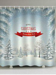 Snow Christmas Waterproof Bathroom Shower Curtain -