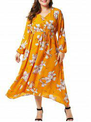 Plus Size Flower Button Embellished Dress -