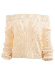 Off Shoulder Hollow Out Knit Sweater -