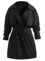 Plus Size Double Breast Longline Trench Coat -