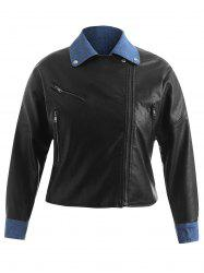 Plus Size Contrast PU Jacket with Zippers -