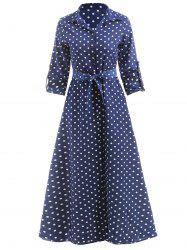 Polka Dot Print Maxi Shirt Dress -