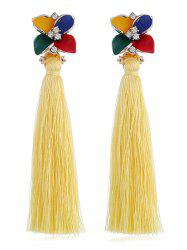Vintage Rhinestone Floral Long Tassel Drop Earrings -