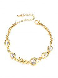 Letter Artificial Diamond Decoration Adjustable Bracelet -