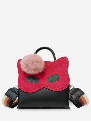 Owl Pattern Faux Fur Ball Handbag -