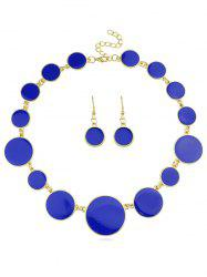 Round Shape Joint Chain Necklace Earrings Set -