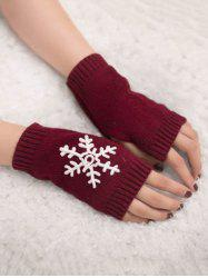 Winter Snowflake Fingerless Gloves -