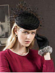 Elegant Mesh Solid Color British Hat -