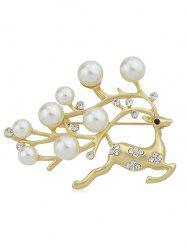 Artificial Pearl Rhinestone Christmas Elk Brooch -