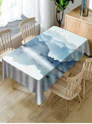 Ink Mountains Print Fabric Waterproof Tablecloth -