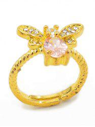 Alloy Bee Faux Crystal Cuff Ring -