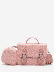 2 Pieces Bucket Fluffy Crossbody Bag Set -