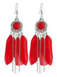 Bohemian Feather Chain Fish Hook Earrings -