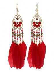 Boho Beaded Feather Drop Earrings -